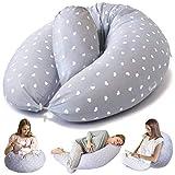Bamibi ® Cuscino Allattamento + Cuscino Interno Multifunzionale e Cuscino Gravidanza per Dormire in Posizione Laterale, Federa 100% Cotone (Cuori)